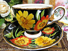 STUNNING TUSCAN TEA CUP AND SAUCER BLACK & GERBER DAISY PATTERN CUP & SAUCER