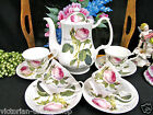 REDOUTE ROSES TEAPOT COFFEE POT ROSES PATTERN & 4 TEA CUP AND SAUCER SETS