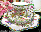 AYNSLEY TEA CUP AND SAUCER TRIO GARDEN COTTAGE PATTERN TEACUP ROSES FLORAL