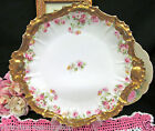 LIMOGES FRANCE HAND PAINTED FLORAL PATTERN ROSE PLATE THICK GOLD BANDS