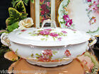 CORONET LIMOGES FRANCE COVERED TUREEN CASSEROLE PINK ROSES PATTERN