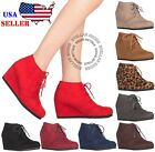 New Womens Round Toe Lace Up Wedge Heels Suede Ankle Boots Booties WITH BOX