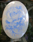Hand Painted Blue/White ROSE on an Oval Porcelain PLAQUE/Medallion