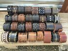 Punk Men Women Wide Genuine Leather Belt Bracelet Cuff Wristband Bangle USA