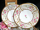 LIMOGES FRANCE PAINTED & RAISED GOLD GILT PLATES 2 WITH ROSES PATTERN PLATES