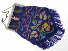 1920s Antique Estate Vintage Multi Colored Beaded Purse w/ Metal Frame