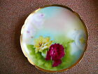 LIMOGES FRANCE CORONET HAND PAINTED PLATE ARTIST SIGNED RED, YELLOW, PINK ROSES