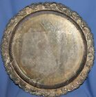 ANTIQUE ART DECO EPNS ORNATE FLORAL PLATTER TRAY