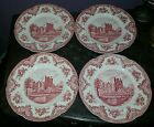 4 Johnson Brothers OLD BRITAIN CASTLES Pink Dinner Plates -Old Crown Mark- MINT