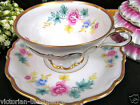 BAVARIA GERMANY TEA CUP AND SAUCER DRESDEN GARLAND PATTERN TEACUP FLORAL