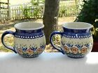 Polish Pottery Set of 2 Bubble Mugs Matching Brown Floral Pattern - New
