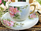 GERMAN AUSTRIA TEA CUP AND SAUCER PINK PAINTED BLOSSOM PATTERN TEACUP