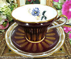 ROYAL STAFFORD TEA CUP AND SAUCER MAROON & FLORAL PATTERN TEACUP