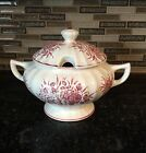 Large Soup Tureen (w/ lid) Hand Painted Roses In Japan By Tilso, NO Ladle