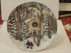 Christmas Winter Church Scene 3D Relief Holiday Ceramic Plate Snow