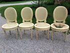 4 Vintage Louis XVI Style French Caned Oval Back Dining Side Chairs