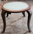 VINTAGE WROUGHT IRON METAL ACCENT SIDE END TABLE ROUND GLASS TOP DISTRESSED