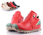 Red Multi New Sporty Button Fashion Women Flats Ankle Boots Shoes Size 6