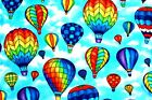 BEAUTIFUL BRIGHT COLORFUL HOT AIR BALLOONS FLEECE MATERIAL 2 YARDS 60 X 72