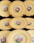 ANTIQUE SET 12 SPODE COPELAND DINNER SERVICE PLATES hand painted flower gold