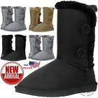 New Womens Button Faux Fur Boots Suede Mid Calf Snow Winter Warm Sheepskin Boots