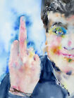 THE WILD ONE -ORIGINAL watercolor PAINTING ! young boy guy finger hand portrait