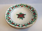 GIBSON Christmas Greeting 4 Soup Cereal Salad Bowls HOLIDAY Holly Berry Dishes