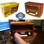 Handmade Wood Cabinate Retro Bluetooth Speakers Table Top AM FM Radio Combo Gift