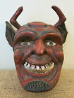 Hand Carved Wooden Diablo Devil Dance Mask Guatemalan Ceremonial Folk Art