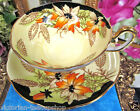 TAYLOR KENT TEA CUP AND SAUCER large wide mouth TEACUP PAINTED FLOWER PATTERN