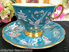 ROYAL ALBERT TEA CUP AND SAUCER TEAL PAINTED PAGODA BIRDS ORIENTAL PATTERN