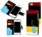 PU Black  Leather Wallet  ID Pouch for Apple Iphon 5, 5S Hard Case Cover sw