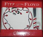 FITZ AND FLOYD CHEERS SNACK PLATE WITH SPREADER HORS D'OEUVRES CANAPE TREATS