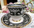 CROWN STAFFORDSHIRE TEA CUP AND SAUCER DEMI ELLESMERE BLACK TEACUP