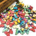 10 50 100Pcs Mix Wood Buttons Butterfly DIY Craft Scrapbook Sewing Appliques W43