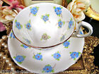 ROYAL STANDARD TEA CUP AND SAUCER FLORAL BLUE BEADED FLOWERS TEACUP
