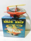 VINTAGE TIN AND PLASTIC TOY WIND-UP SPACE SHIP IN BOX LITHO TAIWAN 1970 MIB