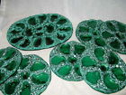 Beautiful French Majolica Oyster Platter 6 Plates Sea Foam Green Blue EX Cond!!