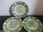 ANTIQUE NIPPON HAND PAINTED MORIAGE GILT  DEERS PLATES 1890s.Lot of 3.