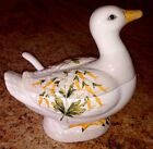 Small ITALIAN DUCK Pottery White TUREEN Made In ITALY ~ Marked
