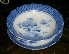 Kutani Porcelain Scalloped Shallow Bowl and Plate Blue and White Peony Flowers