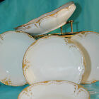ANT TH. HAVILAND FRANCE 4 FRUIT 1 ROUND SERVING BOWL DOUBLE GOLD WHITE SCALLOPE