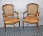 PAIR FRENCH FAUTEUIL OPEN ARM CHAIRS - Caned back with velvet seat a... Lot 1061