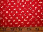 Cotton fabric Christmas / winter 2 3/4 yards white toys, trees, snowflake on red