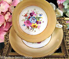 HAMMERSLEY TEA CUP AND SAUCER  PEACH PAINTED FLOWERS SIGNED HOWARD TEACUP