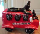 OLD OCUMICHO MEXICAN FOLK ART POTTERY DIABLO DEVIL ON TOP OF BUS Signed Artist