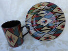 FITZ AND FLOYD - HOPI - 4 SETS OF (COFFEE MUG AND SALAD PLATE) PATTERN 424 JAPAN