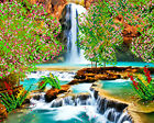 Waterfall DIY beadpoint kit beaded embroidery seed beads tapestry crossstitch