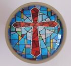 Faux Stained GLASS Christian Cross Cabinet Drawer Knob Pull Religious Blue Red
