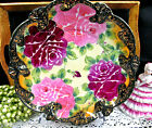 NIPPON BEADED GOLD GILT HAND PAINTED LARGE PLATTER ROSES  PATTERN
